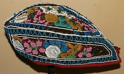 Native American Indian Iroquois beaded Glengarry late 19th Century.