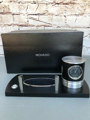 *RARE* Movado Business Card Holder With Clock And Pen Set