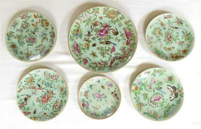 Six Antique 19Th Century Chinese Canton Porcelain Plates