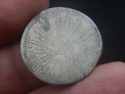 Mexico 1 Real 1856 Go ?? GUANAJUATO , SCARCE CCF COUNTERFIT COIN,WHITE METAL
