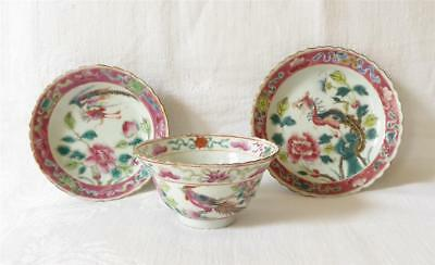Three Fine Antique 19Th Century Chinese Porcelain Items Two Dishes And A Bowl