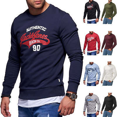 Jack   Jones Herren Sweatshirt O-Neck Label Print Sweater Langarmshirt  Herrentop 2fc36f3d6f