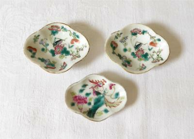 Three Small Antique 19Th Century Chinese Canton Porcelain Dishes