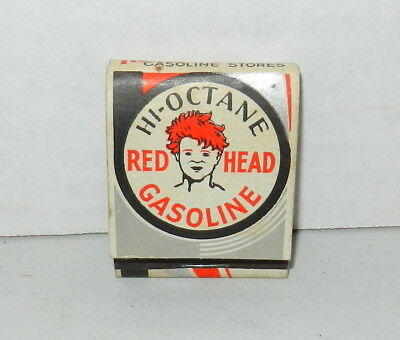 RARE 1930s Red Head Hi Octane Gasoline Advertising Matchbook GRAPHICS! w/ Stores