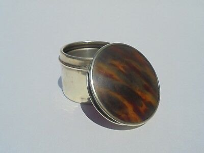 Antique Faux Tortoiseshell And Silver Plated Snuff Box/trinket Box
