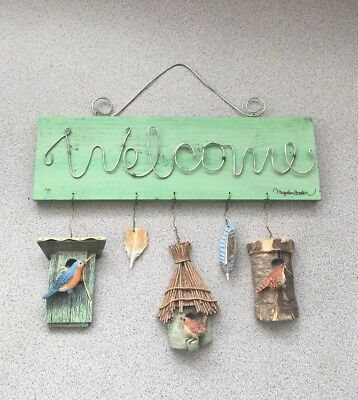 Marjolein Bastin Twisted Wire WELCOME Sign w/ birds, birdhouses & feathers