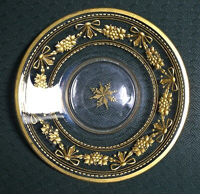Stunning Late 19C Antique Glass & Gold Handpainted Plate