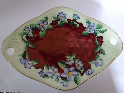 Maling Blossom Bough Ruby #6567 Handled Dish Thumbprint Tubelined Floral Lustre