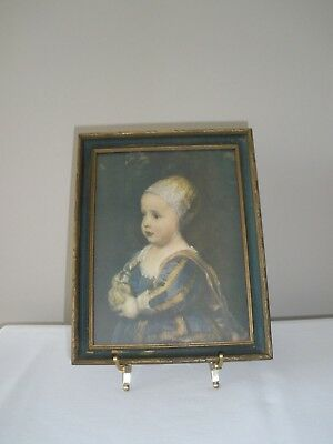 """Antique Vintage c.16th C. Babe Dressed in Finery Wall Picture 9""""x7"""" Wood Frame"""