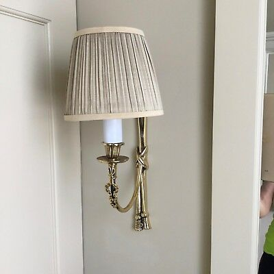 Decorative ornate wall sconces with shades. Two of them.