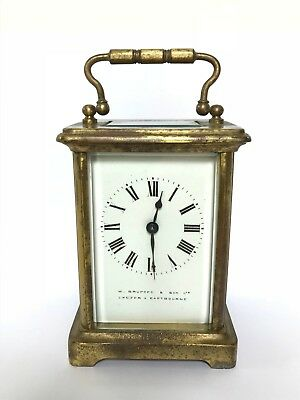 French Brass Carriage Clock - W. Bruford & Son Ltd - Eastbourne Sussex - WORKING
