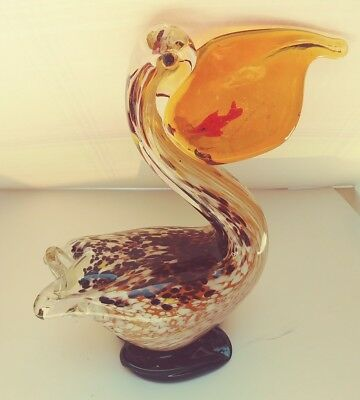 Murano Glass pelican With Fish In bill