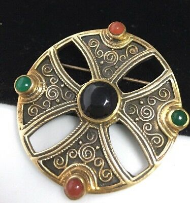 Beautiful Vintage Celtic Brooch With Onyx, Carnelian And Jade Cabochons