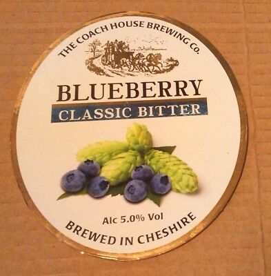 Beer pump badge clip COACH HOUSE brewery BLUEBERRY real cask ale pumpclip front
