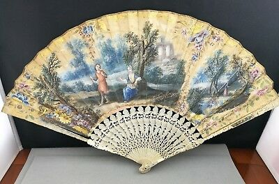 FINE 19th/20th ANTIQUE FRENCH GOLD INLAY Hand Painted fan