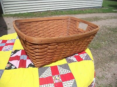 """Nice Old 1993 Large 24"""" Longaberger Laundry Basket With Plastic Protector Liner"""