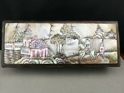 impressive Antique 19th Chinese wood mother of pearl inlaid box - rare
