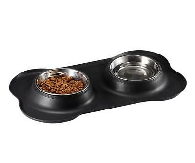 Stainless Steel Pet Bowl with Non-Skid Silicone Mat Feeder Double Bowls Set for