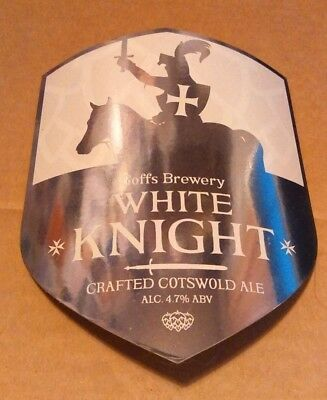 Beer pump badge clip GOFF'S brewery WHITE KNIGHT cotswold ale pumpclip front