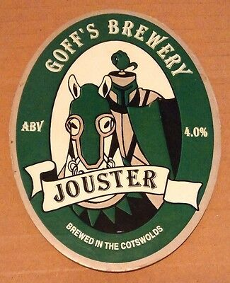 Beer pump badge clip GOFF'S brewery JOUSTER real cask ale pumpclip front