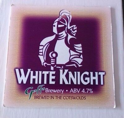 Beer pump badge clip GOFF'S brewery WHITE KNIGHT cask ale pumpclip front
