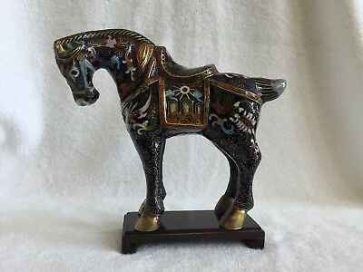 """Vintage Chinese cloisonne horse, deep blue  figurine with wood stand 7"""" High"""