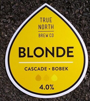 Beer pump badge clip TRUE NORTH brewery BLONDE cask ale pumpclip front Yorkshire