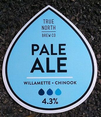 Beer pump badge clip TRUE NORTH brewery PALE ALE cask pumpclip front Yorkshire