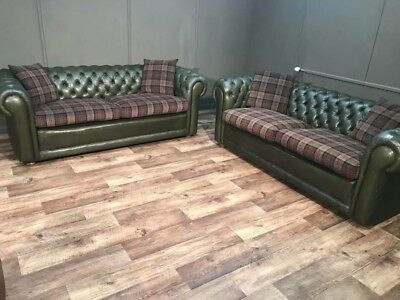 Antique Pair Chesterfield Sofas Sofa settee chesterfields