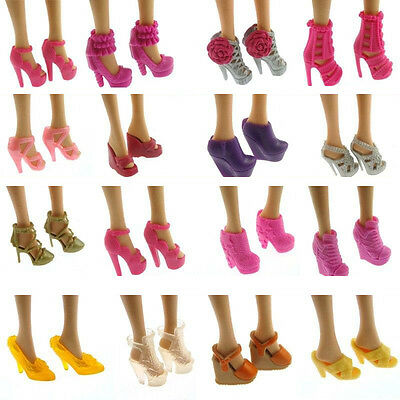 10 Pairs Party Daily Wear Dre Outfits Clothes Shoes For Doll Gif  !