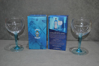 Pair Of Bombay Sapphire Balloon Large Glass Advertising Gin Bowl Goblet In Box 2