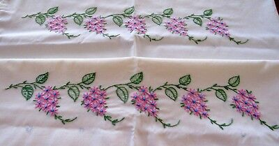 Vintage Pair Pillowcases Hand Embroidered Flowers Crocheted Pink Edge Flower