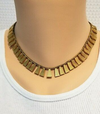 Vintage Art Deco Cleopatra Egyptian style collar necklace gold tone textured