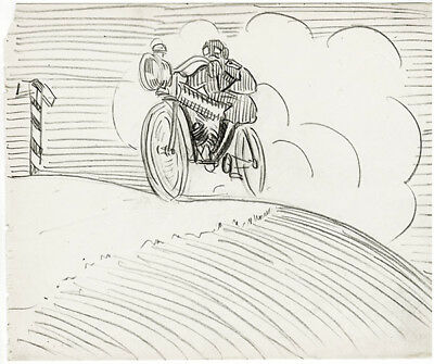 ca 1916 Page from the album of UNKNOWN RUSSIAN ARTIST: BIKER