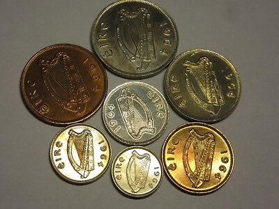 Vintage 1964 Irish Coin Set Almost Uncirculated Condition, Light Toning