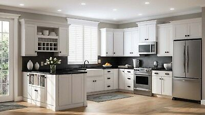 10\'X10\' WHITE SHAKER Solid Maple Wood Kitchen Cabinets - 5/8 ...