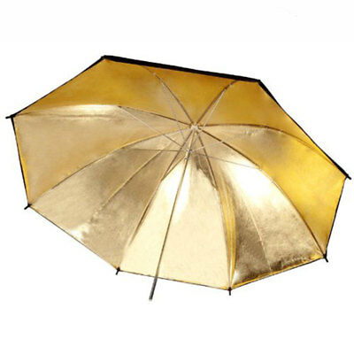 Photo Photography Video Flash Reflector 33'' Reflective Umbrella Black Gold