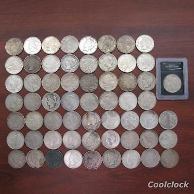 60 Pc Lot Peace Silver One Dollar $1 Coins Old Used Circulated Ungraded #X25