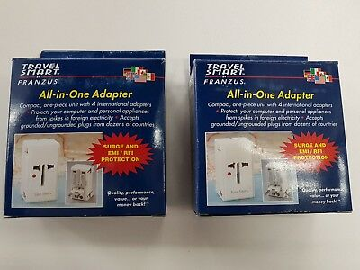 2pk Universal All In One Power Adapter Wall Charger Socket Travel Plug Converter