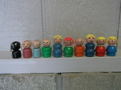 LOT of 10 Assorted RARE All Wood Fisher Price Little People ❤️ VINTAGE TOYS LQQK