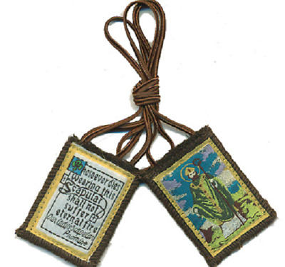 Traditional Our Lady of Mt. Carmel Brown Scapular w/  St  Patrick Image