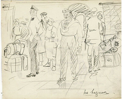 Album's page HORSEMAN WITH RIFLE & PEOPLE ON TRAIN STATION u/k Russian artist