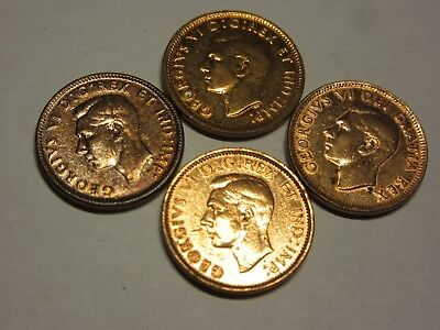 Four Count Extremly Rare Vintage  One Cent Canadian Coins Uncirculated George Vi