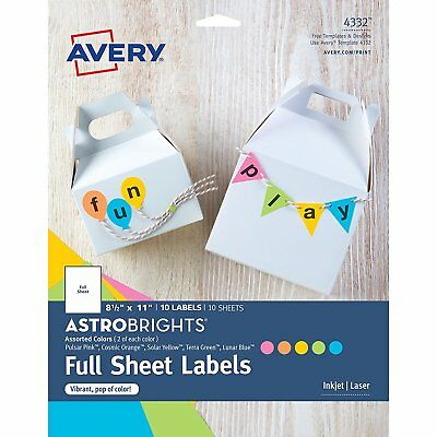 "Avery Astrobrights (4332) Color Full-Sheet Labels, 8-1/2"" x 11"", Pack of 10"