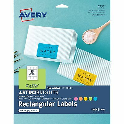 "Avery Astrobrights Color Easy Peel Rectangle Labels, 2"" x 2-5/8"", (4331)"