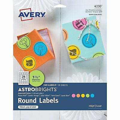 Avery 4330 Astrobrights Color Easy Peel Round Labels FACTORY SEALED! FREE SHIP!
