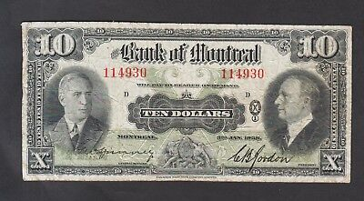 Canada   1938  Bank of Montreal 10 Dollars Chartered