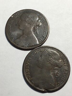 1860 & 1861 Great Britian Penny RHYSs COINS
