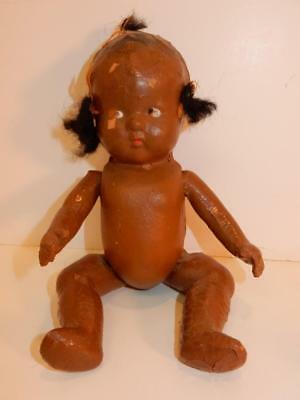Vintage Primitive Black Americana Composition Doll African American 3 Pigtail