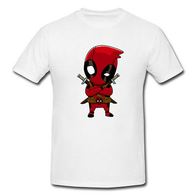 Deadpool Cartoon Character Marvel White T-Shirt - Available M L XL
